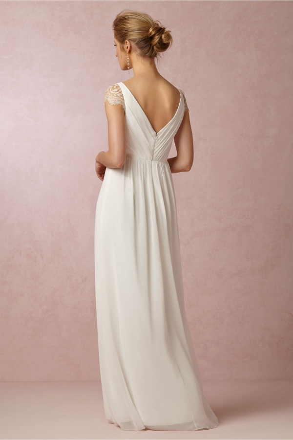 Superb low v back on this stunning Bhldn gown under $500