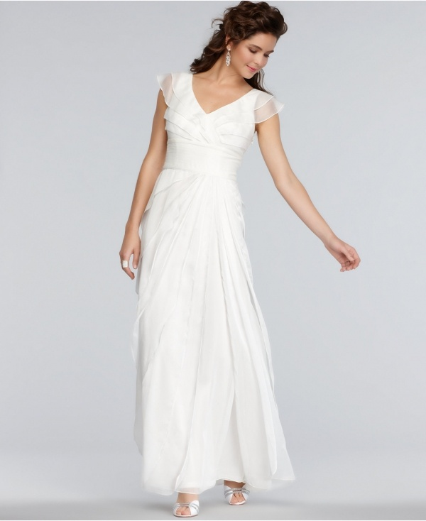 Lovely cap sleeved wedding dress by Adrianna Papell, under $500!