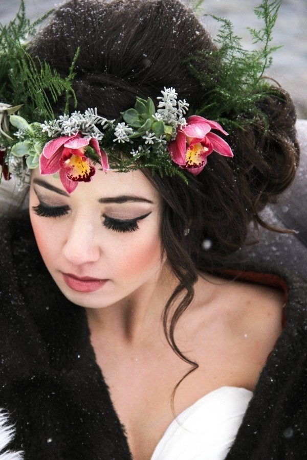 Beautiful pink orchid and succulent flower crown!