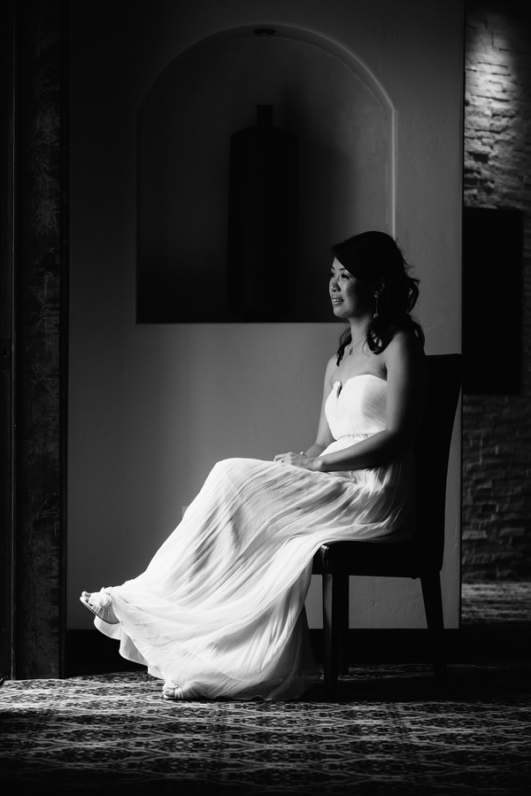 Beautiful black and white portrait of the bride
