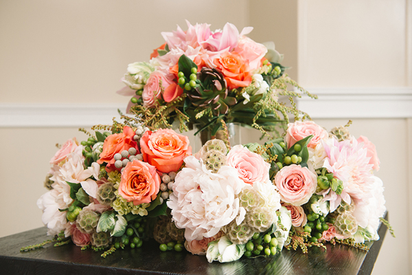 Pink and coral wedding flower bouquets
