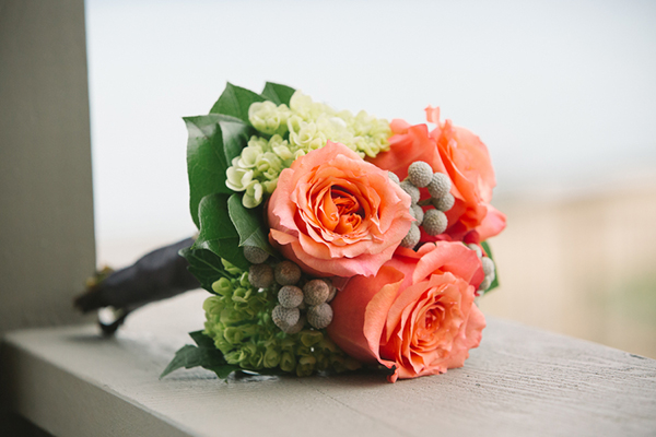 Sweet idea for a coral flower boutonniere