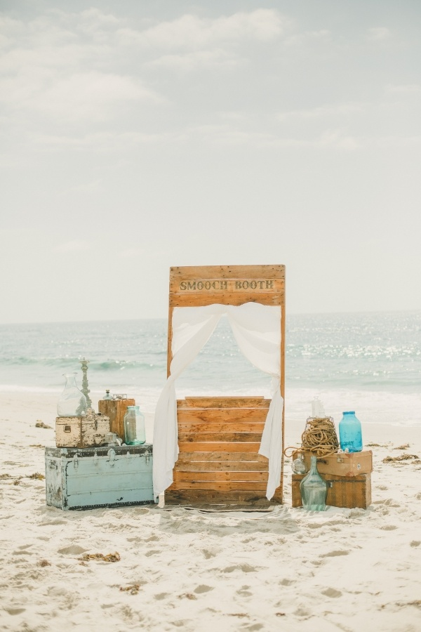 Gorgeous rustic beach ceremony backdrop