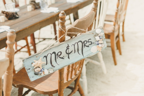 Adorable Mr & Mrs sign at a lovely rustic beach reception!