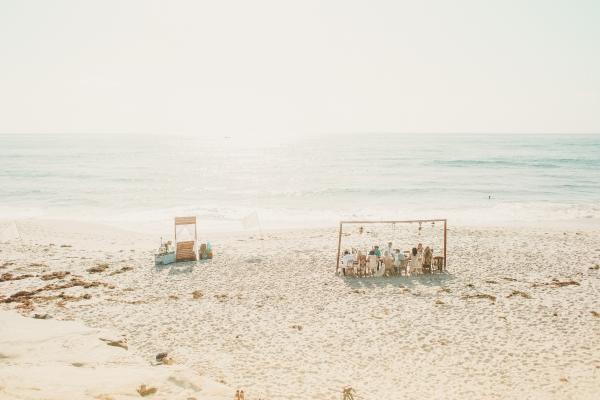 Stunning low key beach reception for a low key wedding!
