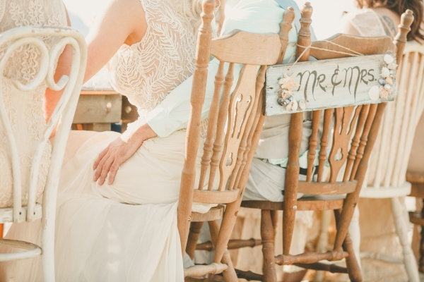 Beautiful rustic Mr & Mrs sign for a rustic beach reception!