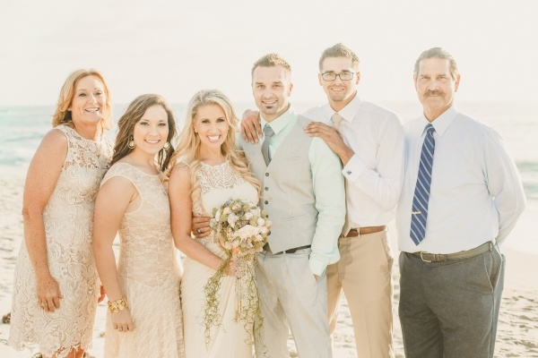 Bride and groom with their family at their small low key wedding!