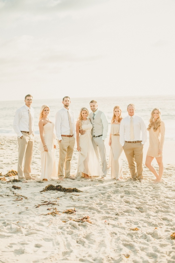 A bride and groom and their bridal party at their small low key wedding!