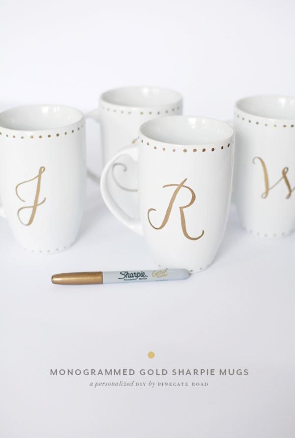 DIY Gift // Monogram Sharpie Mugs