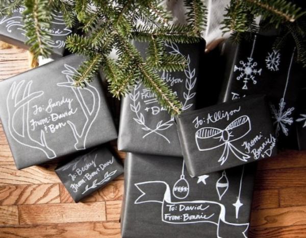 DIY Gift // chalkboard gift wrap
