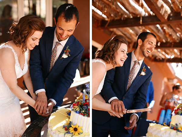 Gorgeous and romantic photo of the bride and groom cutting the cake at their carnival themed desert wedding!