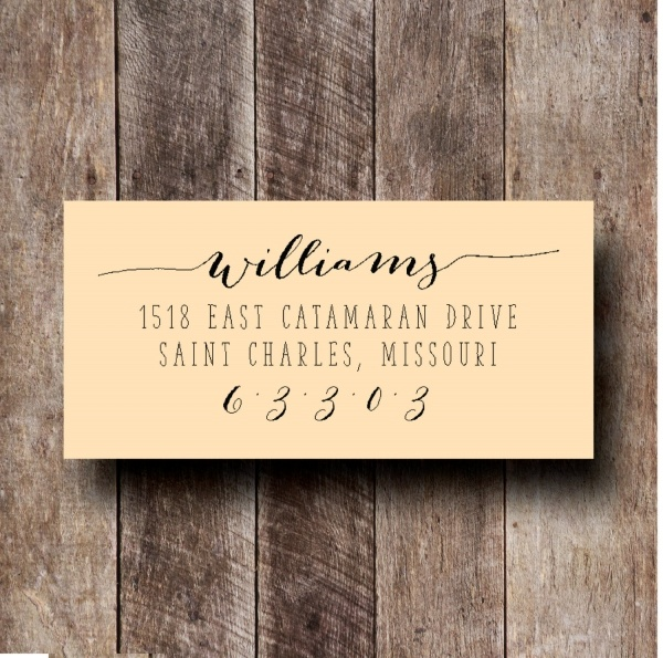 custom bride and groom rubber address stamp