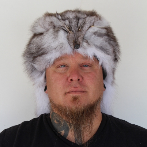 201ed3f41ef99 Blue Fox Mountain Man Fur Hat with Face ...