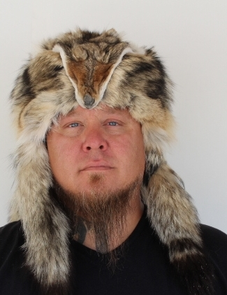 bb43be84262 Coyote Mountain Man Fur Hat with Face and Three Tails ...