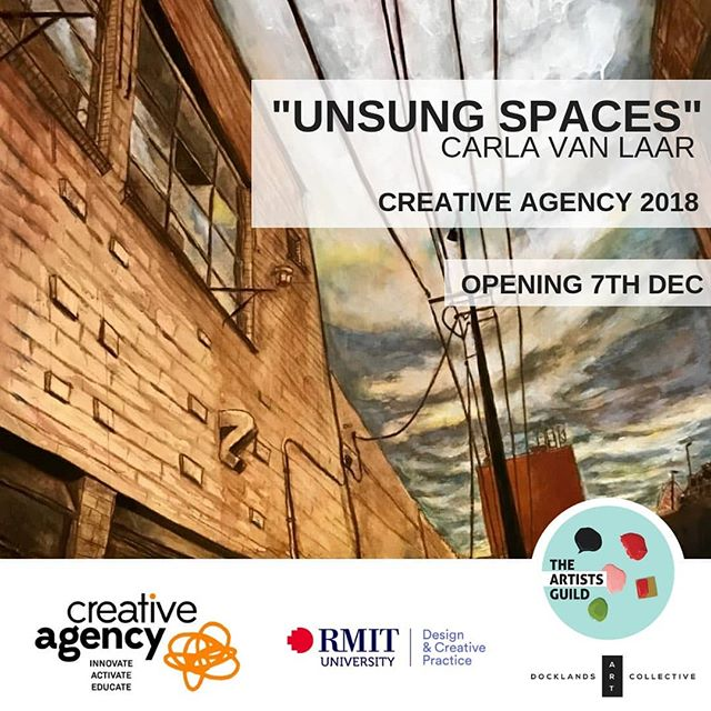 """UNSUNG SPACES"" SHOWCASES WORKS CREATED BY PAINTER CARLA VAN LAAR DURING HER 2018 ARTIST FELLOWSHIP AT RMIT'S CREATIVE RESEARCH LAB, CREATIVE AGENCY, IN MELBOURNE. . @carla.vanlaar . The paintings explore urban spaces around RMIT that are well travelled, strangely familiar and evocative, yet uncelebrated due to their transient, neglected or un-designed nature. . Carla worked with ink, chalk and house paint on particle board; materials that echo the built-up and sometimes shabby environments that she studies. These artworks metaphorically invite viewers to celebrate the unsung, undesigned, under-represented and previously unseen stories that live within us all. . Creative Agency, under the leadership of Anne Harris, is an innovative research lab at RMIT University based across the School of Education and Design and Creative Practice which seeks to Innovate—Activate—Educate research about creativity, creative practice and its power to change social structures. We work across sectors, co-designing transdisciplinary projects that provoke social change through creative making. . Launched in August 2017, Creative Agency provides a key maker-space and community hub in inner-city Melbourne. Our regular series of community collaborative playdates continues twice yearly, and our Artist Fellow program celebrates Carla van Laar as our first Artist Fellow in 2018. Our 40 core members from across cultural industries, community arts, public education, design and digital media, government and industry invite you to engage with Creative Agency to kick-start change in your worlds and relationships. . For more information on Creative Agency or the  Artist Fellows program: . Anne Harris Associate Professor and Principal Research Fellow School of Education Anne.harris@rmit.edu.au  @rmituniversity @rmitgallery  @rmitdesignhub  @rmit_art"