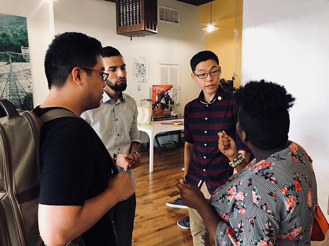 Antonio, founder of WePod, always enjoys networking with new people! This photo is from our WePod Live! event that took place this past Friday. What awesome things do you think they are all discussing?