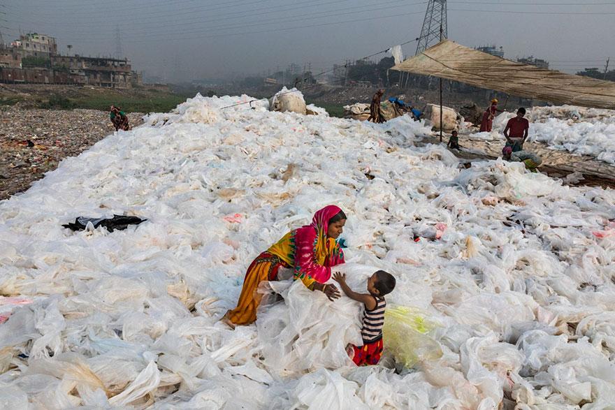 Clear plastic trash on the banks of Buriganga River, Dhaka, Bangladesh