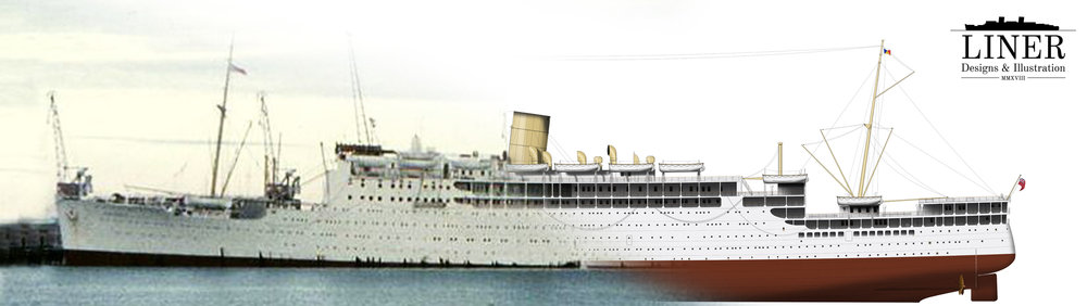 TSS Strathnaver - reality at left and the Liner Designs illustration superimposed at right.