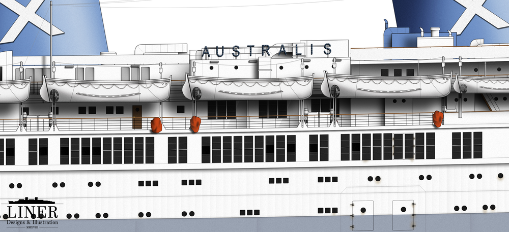 Amidships showing an array of lifeboats and Australis' name sign - at night time this could be illuminated with brilliant bulbs.