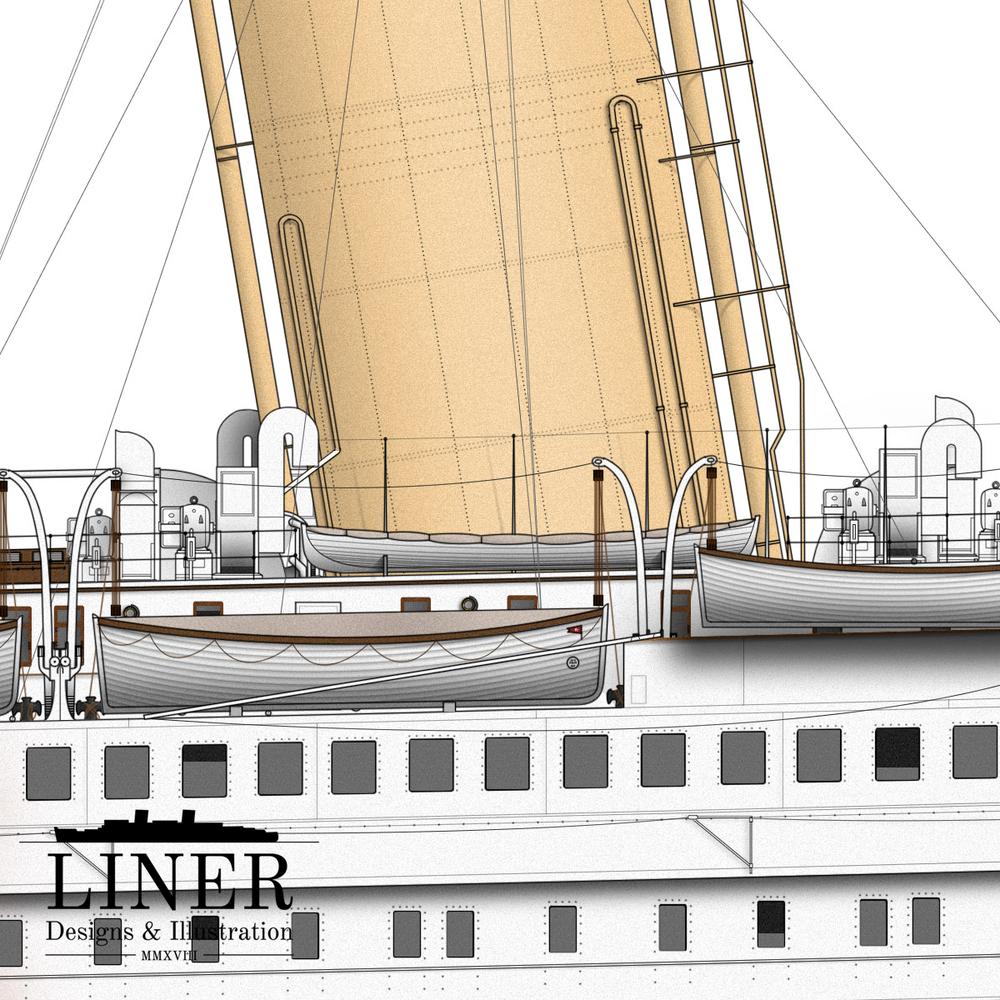 Detail showing the three different types of lifeboat used aboard Titanic. In the event of the sinking, the smaller 'collapsible' type boats at the foot of funnel No. 1 floated free of the ship rather than being properly launched.
