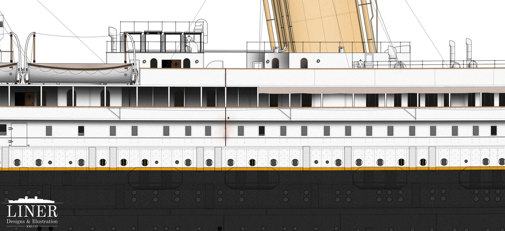 A section of hull amidships. Note the canvas screen erected along the promenade deck to provide shelter for passengers lounging on deck chairs in this area. The triangular frames mounted along the promenade deck are outriggers for aiding in loading the ship's coal bunkers way below at the waterline.