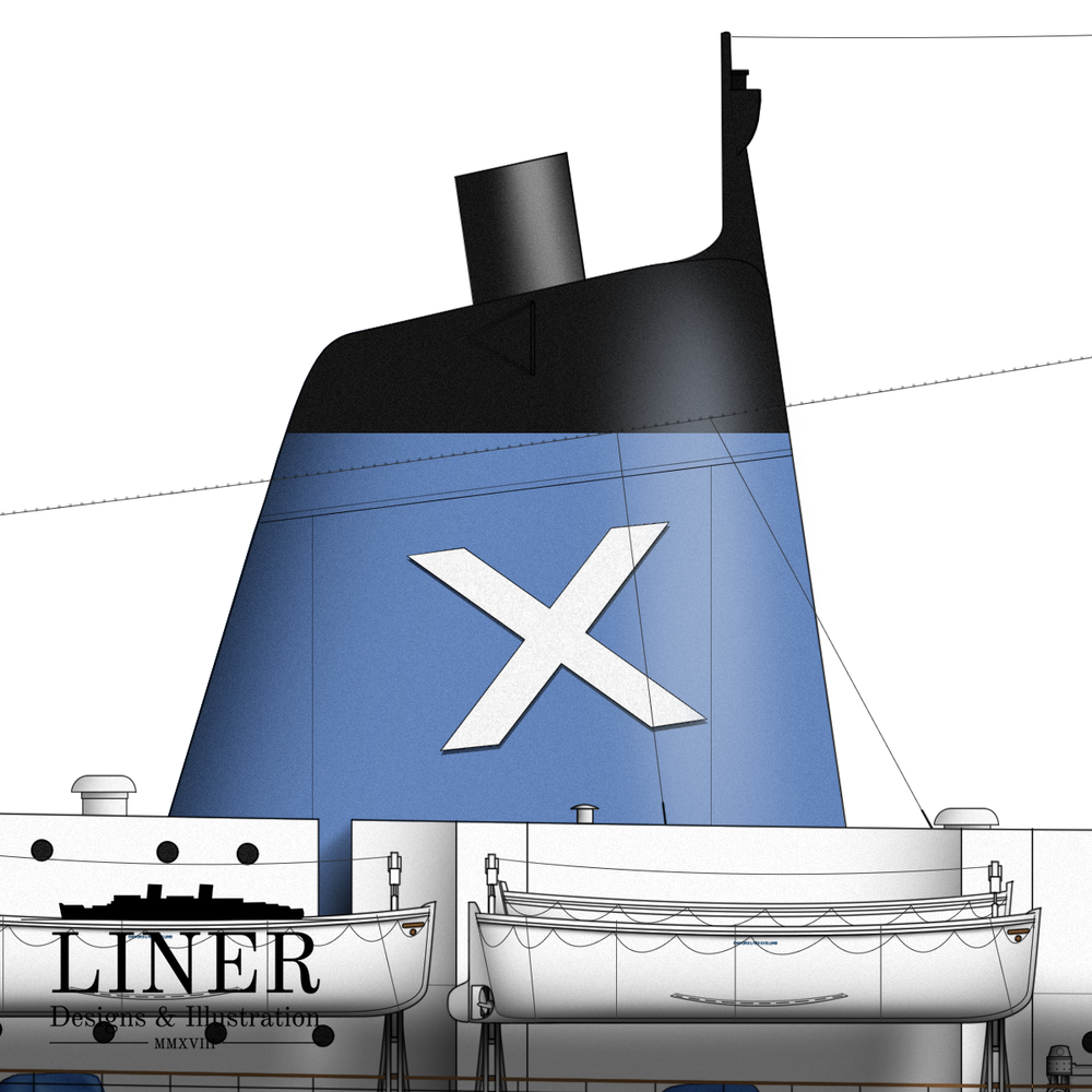Ellinis' funnels were modernised and streamlined when compared to the original sort Matson had installed.