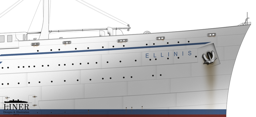 Ellinis' sleek bow. A 10' raked section was welded onto the original plates in order to modernise the ship's appearance.