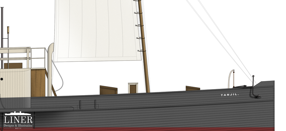 Tanjil's foremast featured a sail which could help the little ship, in conjunction with here engine, achieve 12 knots in a stiff breeze.