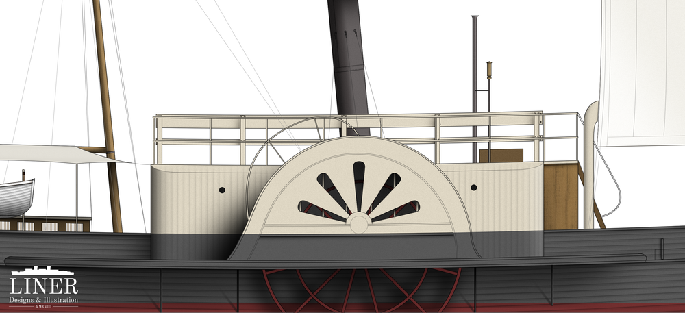 Tanjil's paddle wheel was driven by an engine rated at around 100 horesepower.