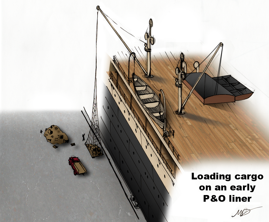 A rough sketch showing procedure for loading cargo from the quay with Mooltan's massive hydraulic cranes. While one picks cargo up from the side (upper left), the other swings about and loads cargo into the hatch (lower right). It is easy to see how this would speed up the cargo-loading process dramatically - imagine sixteen of these operating at once!