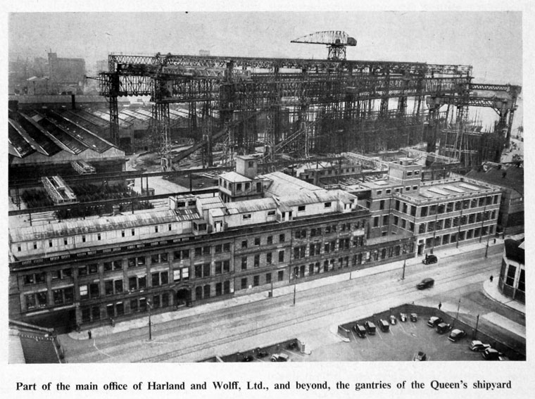 Period photo of the Belfast Harland & Wolff works in the 1920s. The Company would build some 1,600 ships in its 150-odd years of operation. Image from Grace's Guide: https://www.gracesguide.co.uk/Harland_and_Wolff