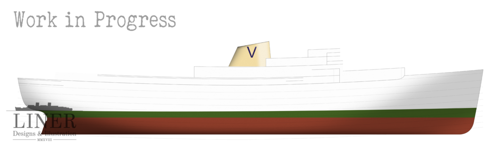 M/S Fairsea in the early stages of drawing.