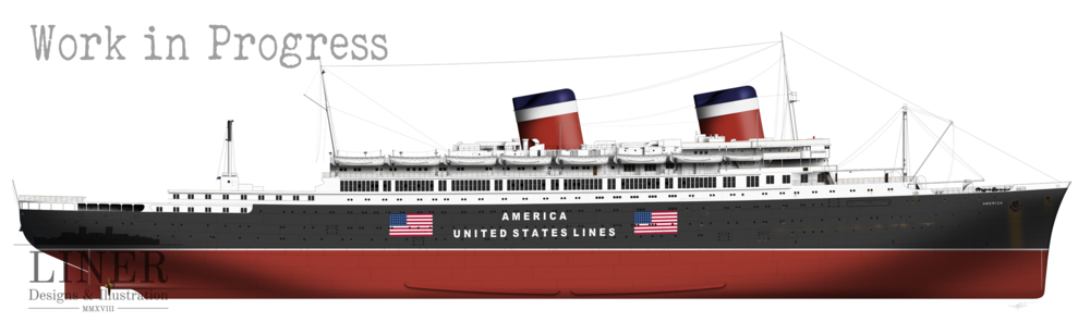 America looking the business in her red, white and black hull. This is how she appeared at the start of the Second World War - hence the hull signage. This was to avoid attack by German U-Boats at a time when the U.S.A was abstaining from the conflict.