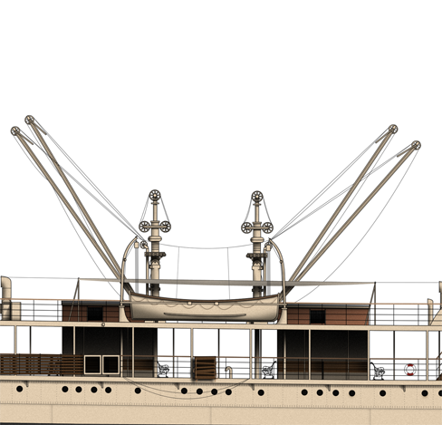 A set of Hydraulic Cranes fitted aboard Mooltan.