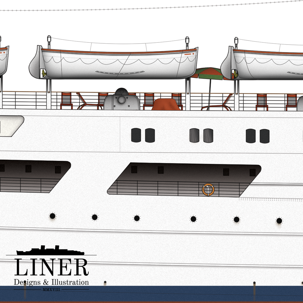 The aft Sun Deck was the most popular place on-board. It was flanked in all sides by the lifeboat-handling equipment - this would be used a number of times during the ship's life time!