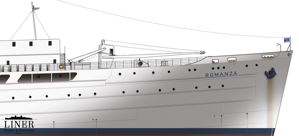 Romanza's sleek bow. It is hard to believe that this elegant ship started life as a utilitarian cargo vessel.
