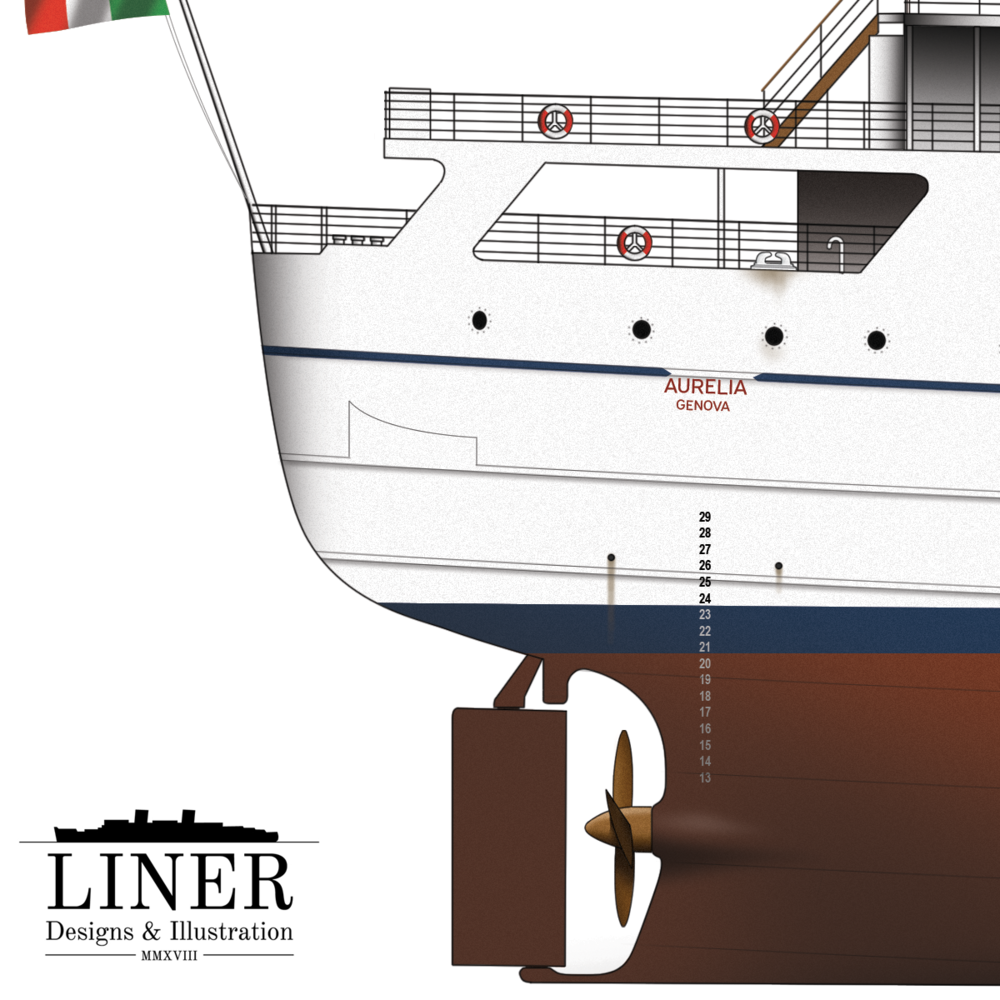 Sleek above the waterline, a glimpse below reveals Aurelia's former life as a single-screw cargo vessel.