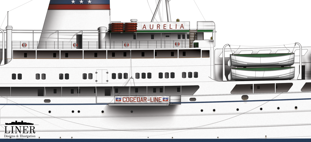Amidships on Aurelia showing the distinctive COGEDAR gangway. Thousands stepped foot from off that gangway to begin new lives in Australia and to visit exotic ports across the world.