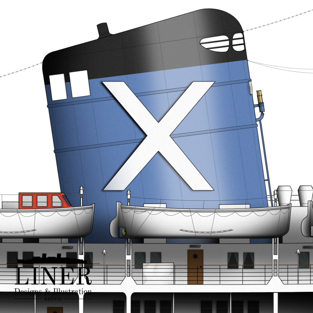 The iconic Chandris 'Ch' logo, a white cross on a blue background, adorned Amerikanis' elegant cowled funnel. Her steam whistle was still operational late into her career and was occasionally used - to the delight of curious passengers.