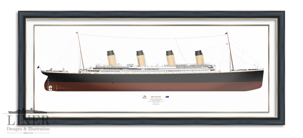 Print of RMS Titanic by Liner Designs in 'Olympic Black-Gold', available  Here
