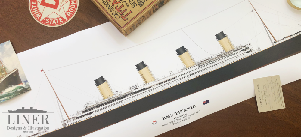 Poster of the RMS Titanic by Liner Designs, available  Here