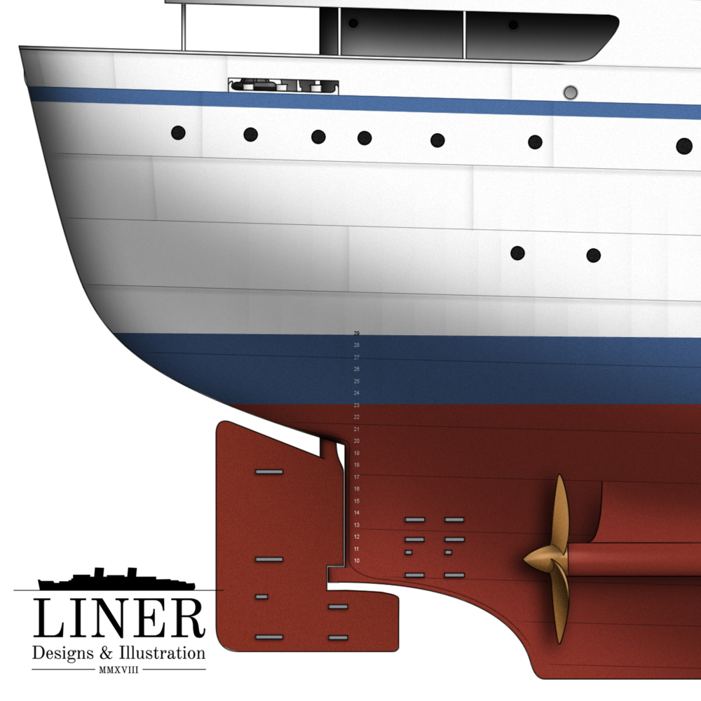 The Victoria's rounded cruiser stern and twin propellers. Notice the sacrificial anodes about the rudder.