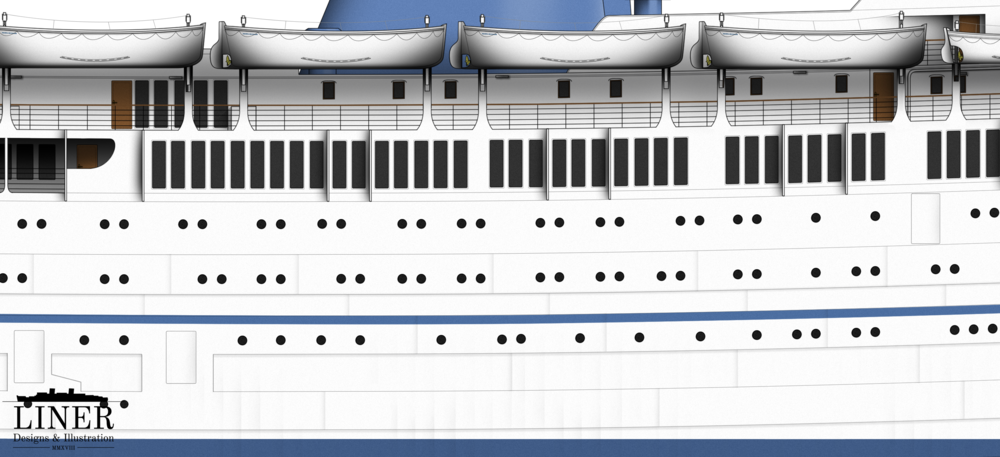 Looking amidships where the popular 'Winter Garden' cafe was located.