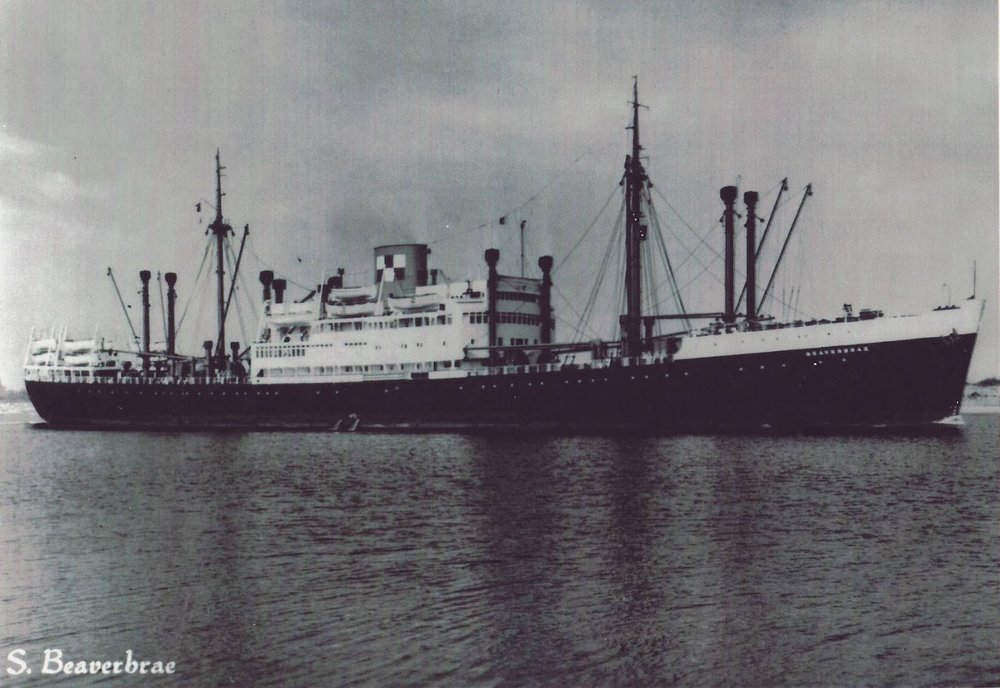 As 'Beaverbrae' after the war; she served as a very basic immigrant liner and cargo freighter. Image from: http://canadahistoryimmigration.blogspot.com