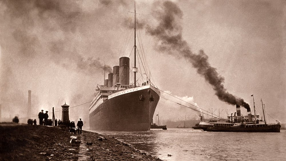 Titanic steaming down the River Lagan shortly after completion. Image from the Steve Raffield collection/