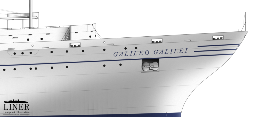 Galileo Galilei's highly-curved bow - adept at deflecting heavy seas.