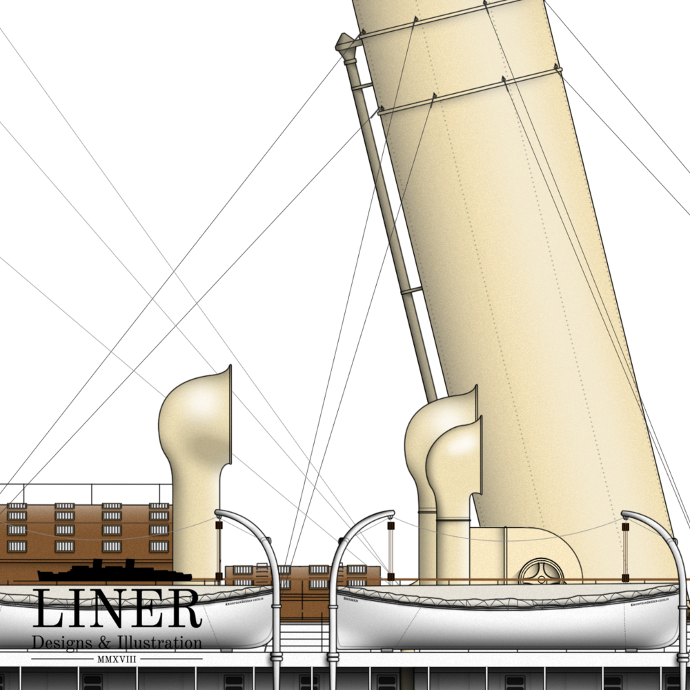 The base of Cecilie's Number 4 funnel showing the array of ventilators and skylights so common to German liners of the period.