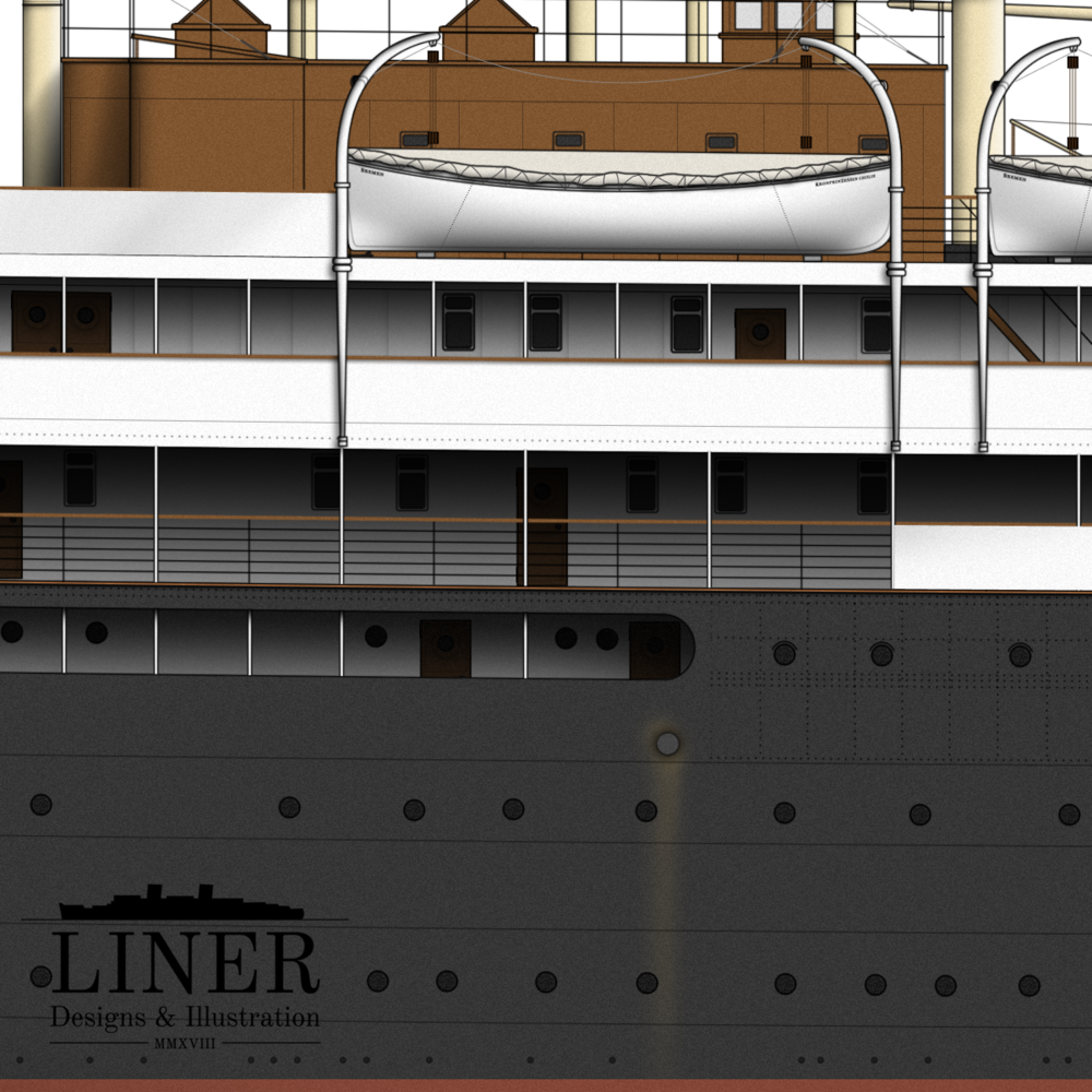 Further aft showing the levels of promenade decks where passengers could stretch their legs at sea.