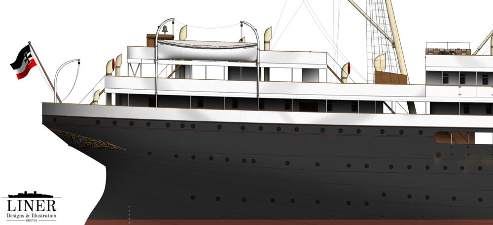 Cecilie's elegant clipper stern featured a prominent decorative gold motif.