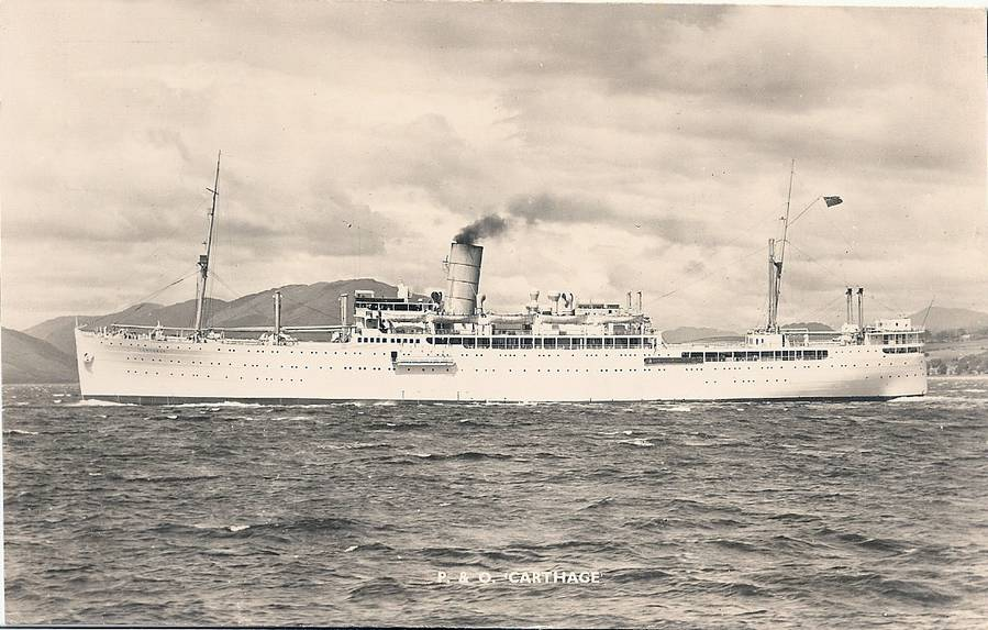 P&O's neat SS Carthage, a fine liner which operated on the Far-East run alongside running-mates 'Corfu' and 'Canton'. Image from;  http://junglecat.de/photos/p%26o.html